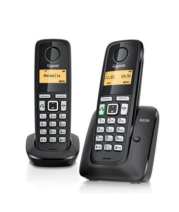 Gigaset A220 Teléfono + supletorio inalámbrico económico con manos libres. Negro